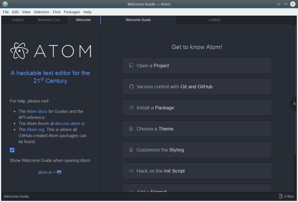 A look at Atom text editor for GNU/Linux