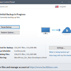 backblaze personal backup interface windows