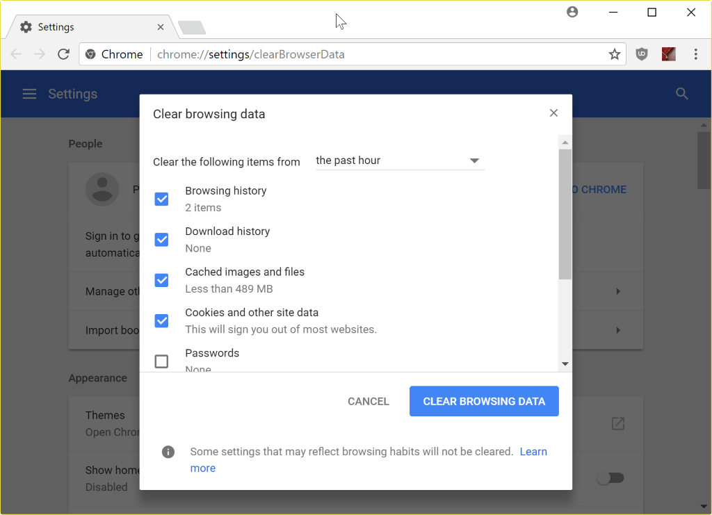 How to delete Chrome's browsing data super quickly