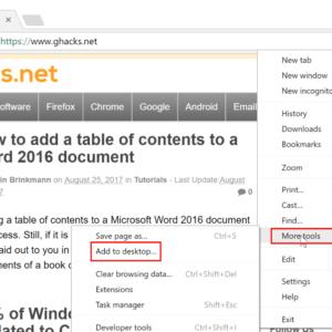 chrome pin site windows 10 taskbar