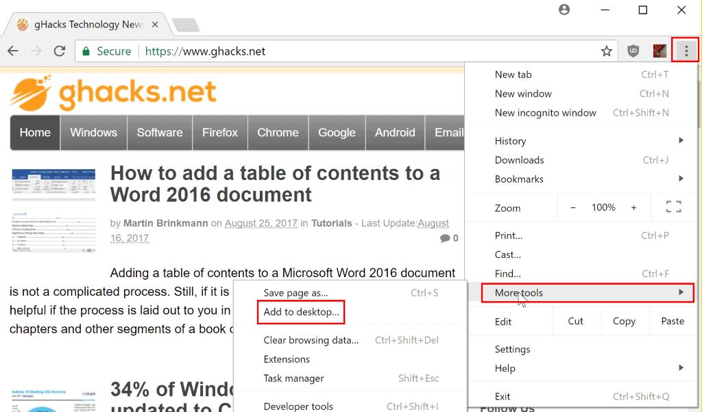 Add your favorite websites to the Windows 10 Taskbar