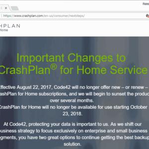 crashplan for home shutdown