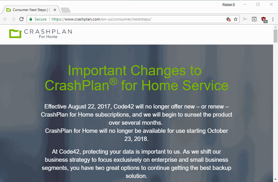 crashplan for home shutdown