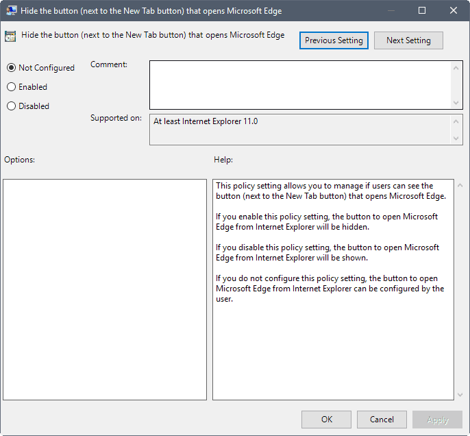 edge hide button group policy