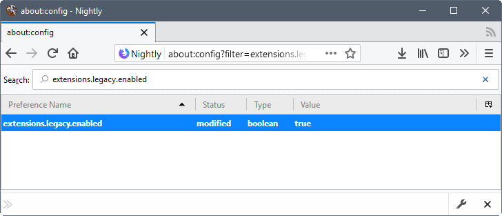 firefox extensions legacy enabled