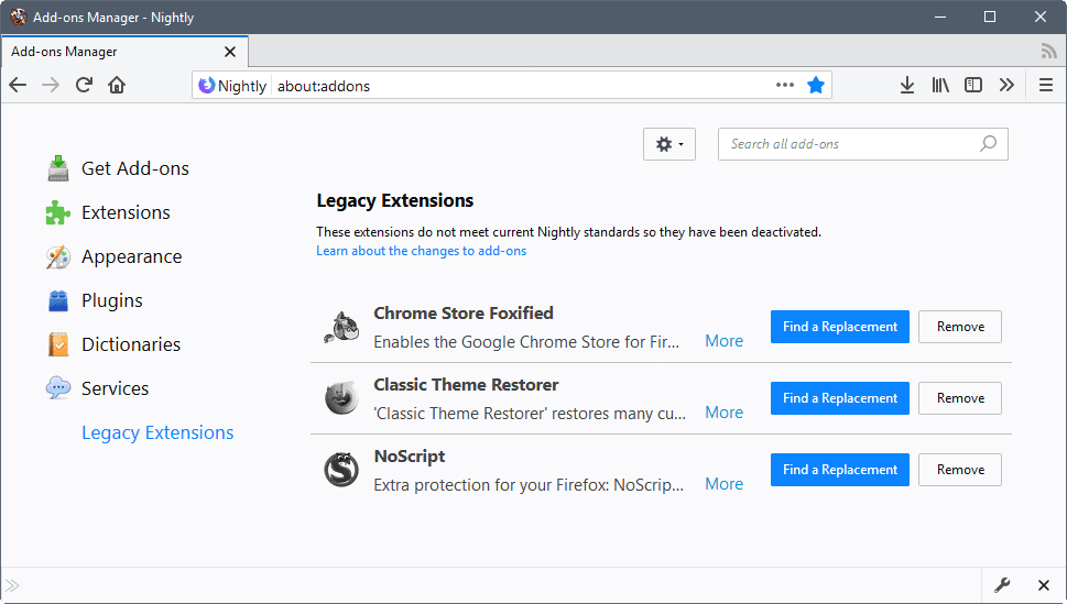 How to enable legacy extensions in Firefox 57
