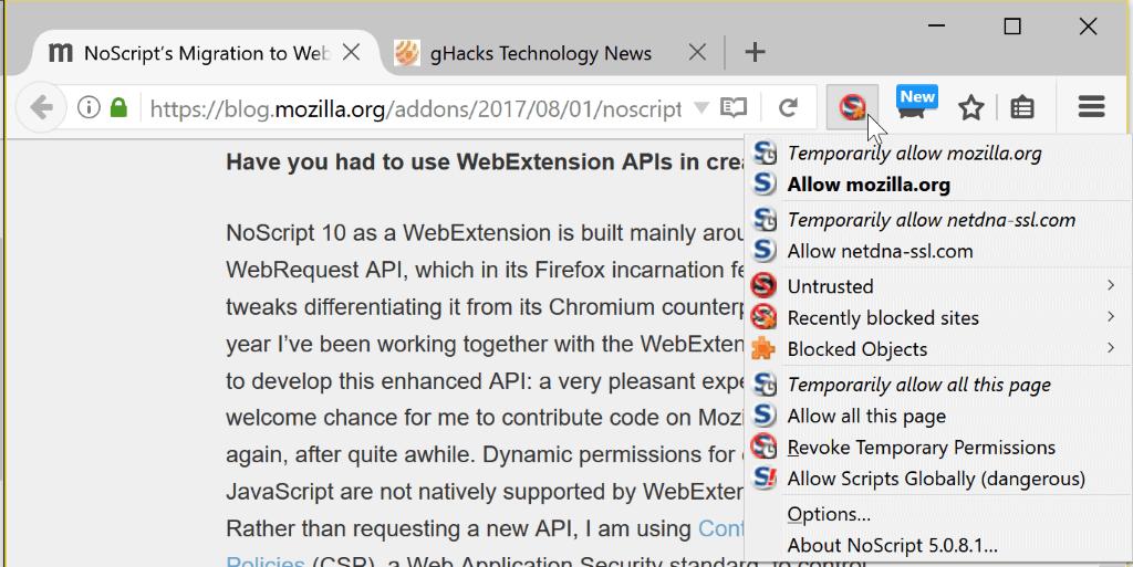 firefox noscript webextensions