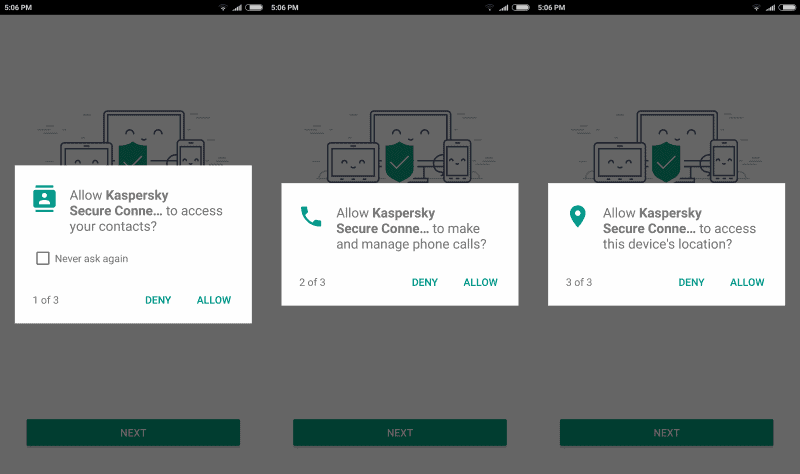 kaspersky vpn permissions