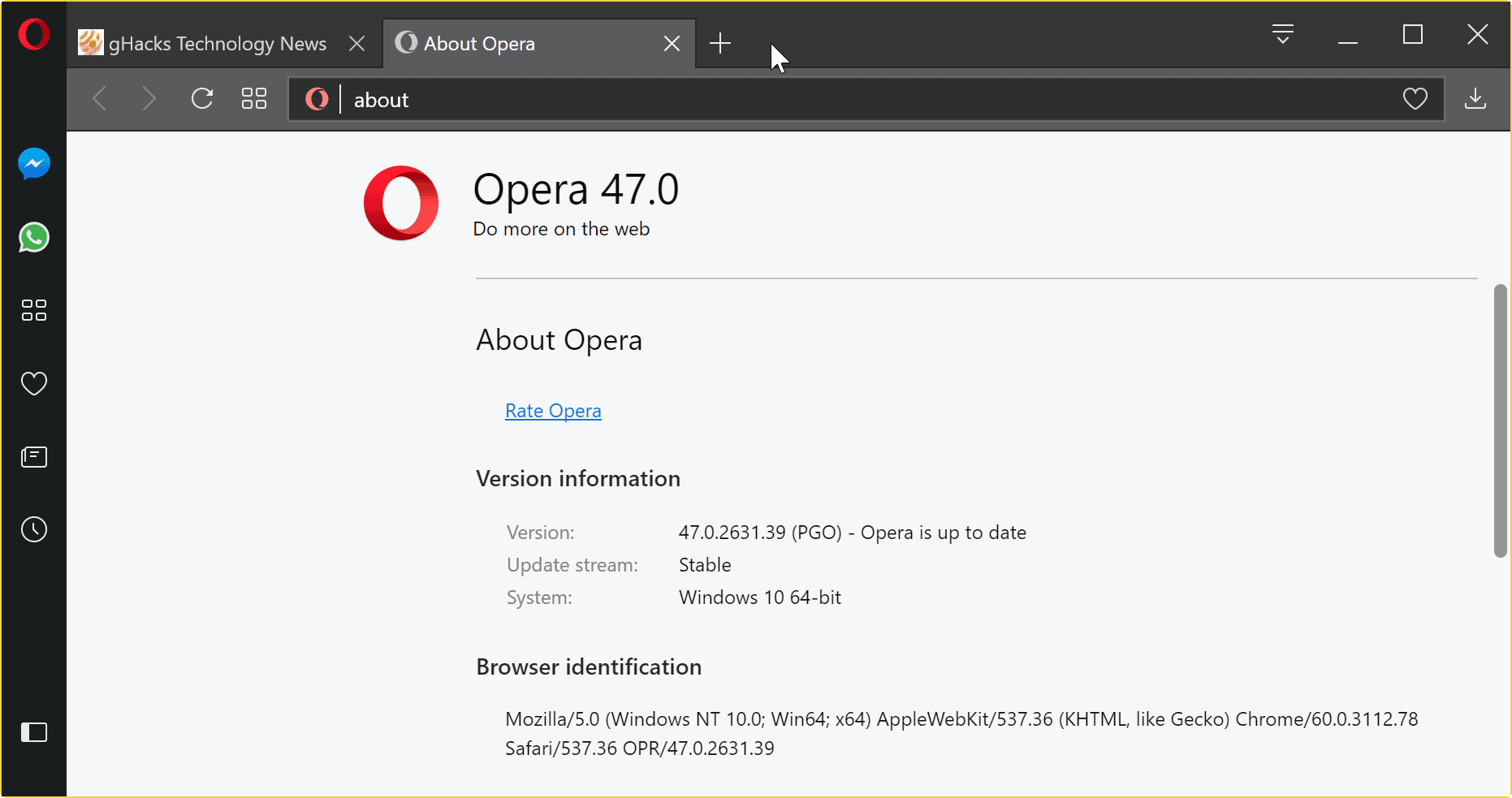 Opera 47 Stable improves usability