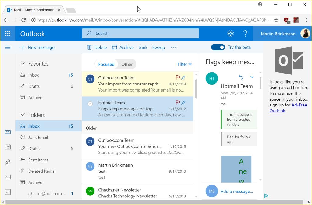 outlook.com beta august 2017