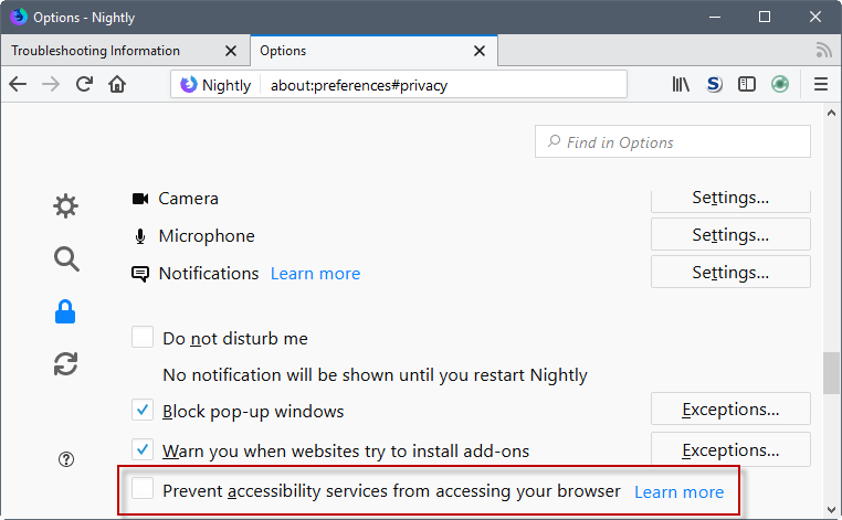 prevent accessibility services firefox