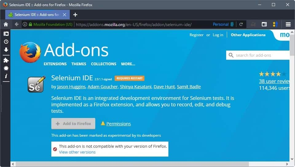 Selenium IDE Firefox add-on end of live