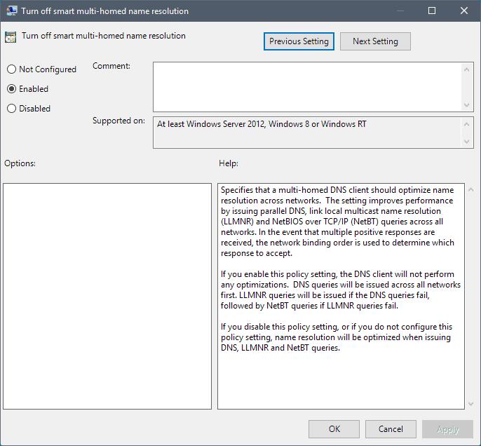 turn off smart-multi homed name resolution