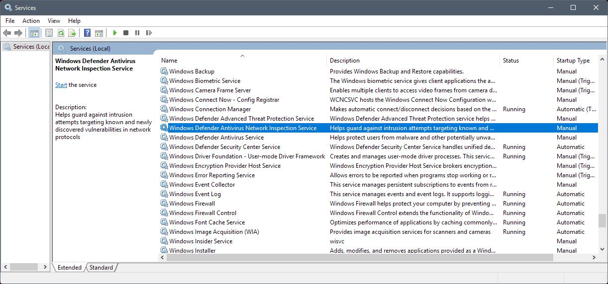 windows defender antivirus network inspection service