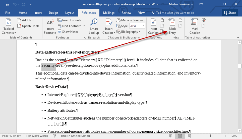How to create an index in Word 2016 - gHacks Tech News