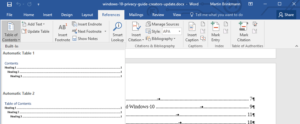 word 2016 table of contents templates