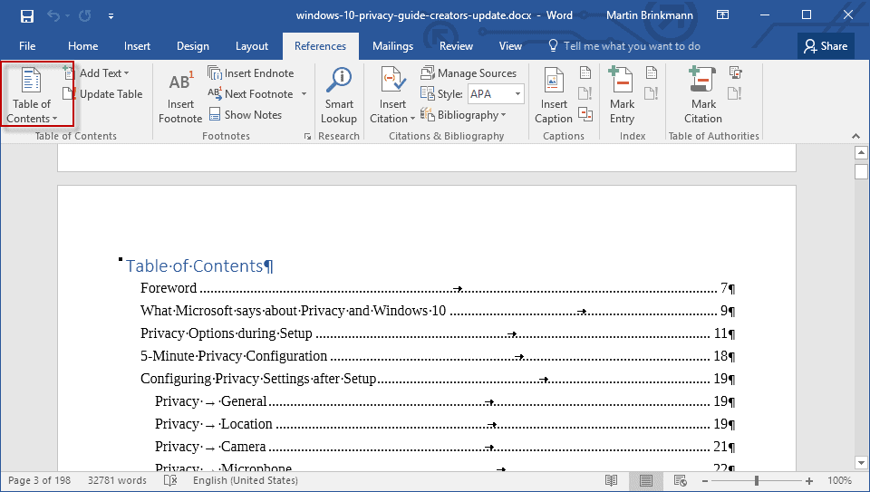 word 2016 table of contents