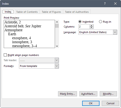 word customize index