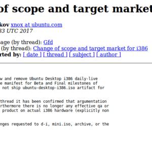 Ubuntu Dropping 32bit Mailing List
