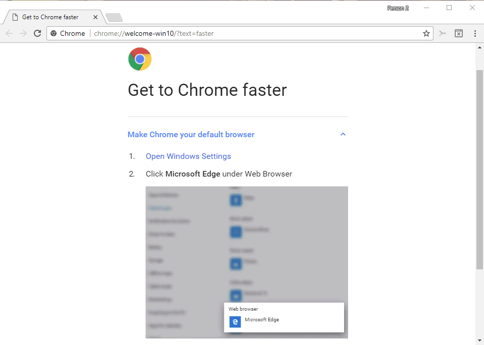 Chrome's Get To Chrome Faster Campaign on Windows 10