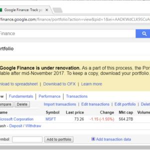google finance portfolio