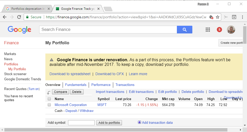 Google Finance: portfolio feature will be retired in November 2017