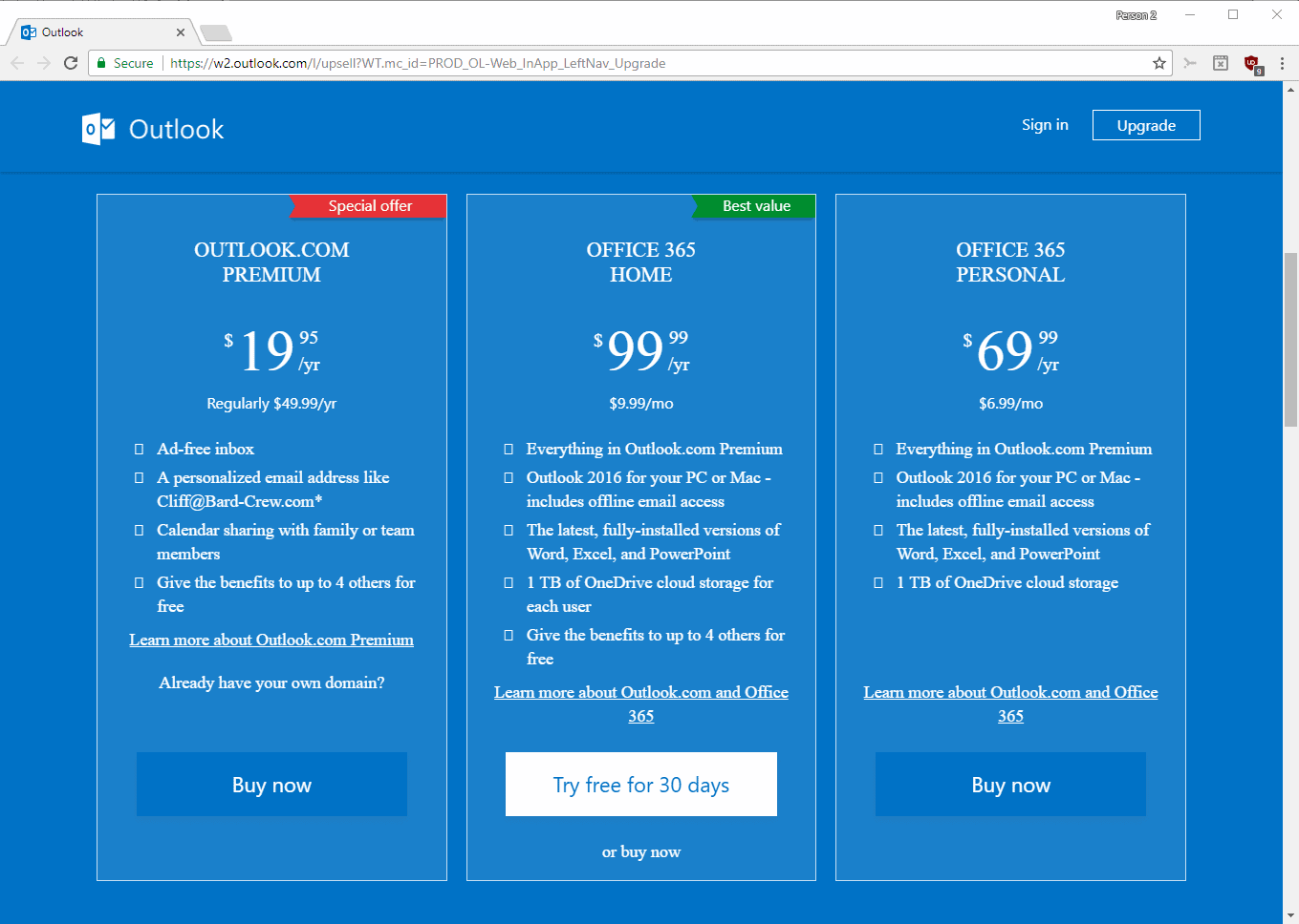 outlook.com premium office 365