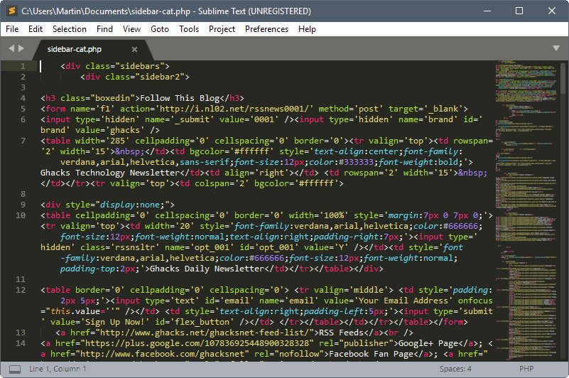 Sublime Text 3 0 is out - gHacks Tech News