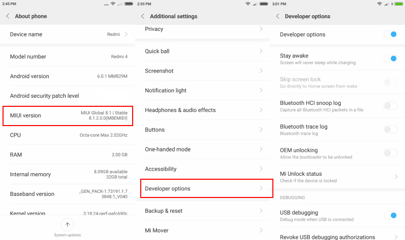 xiaomi redmi developer options
