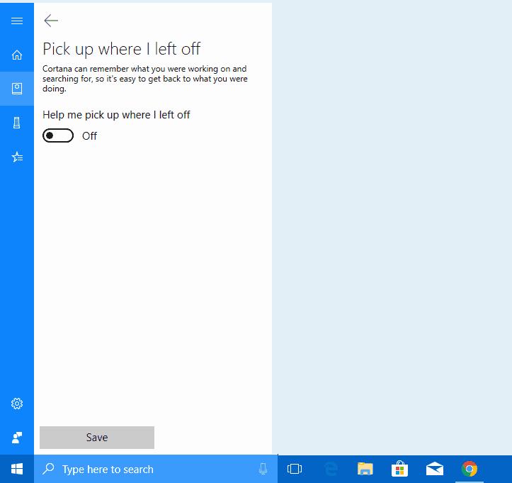 Cortana pick up left off