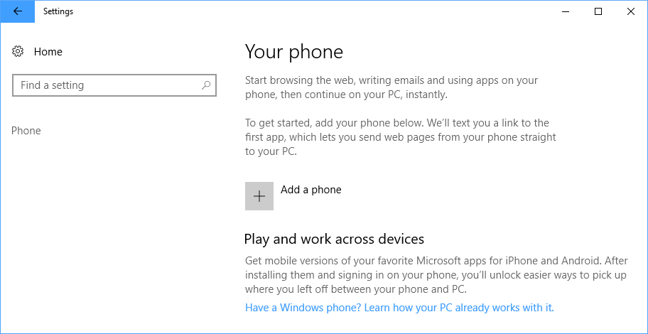 add a phone windows 10