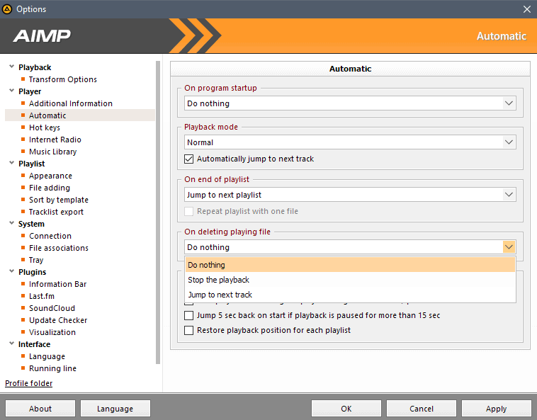aimp 4 .5 options