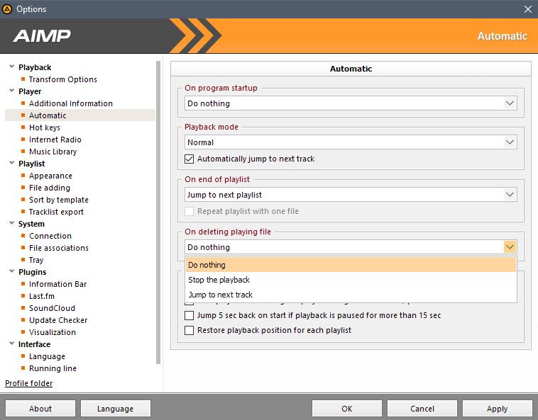 aimp 4 .5 options