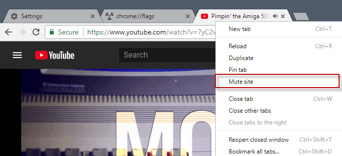 chrome 62 mute site
