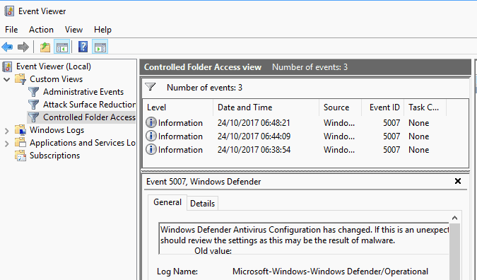 controlled folder access events