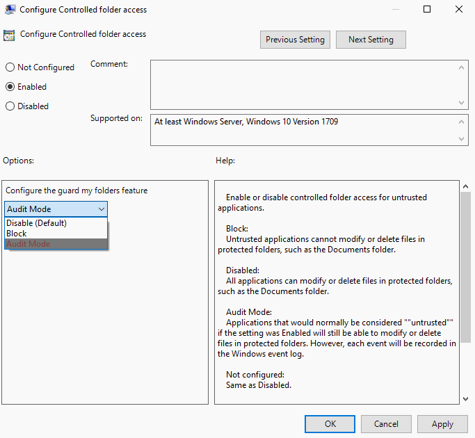 controlled folder access group policy
