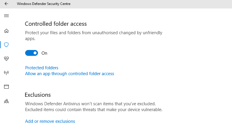 Configure Controlled Folder Access in Windows 10