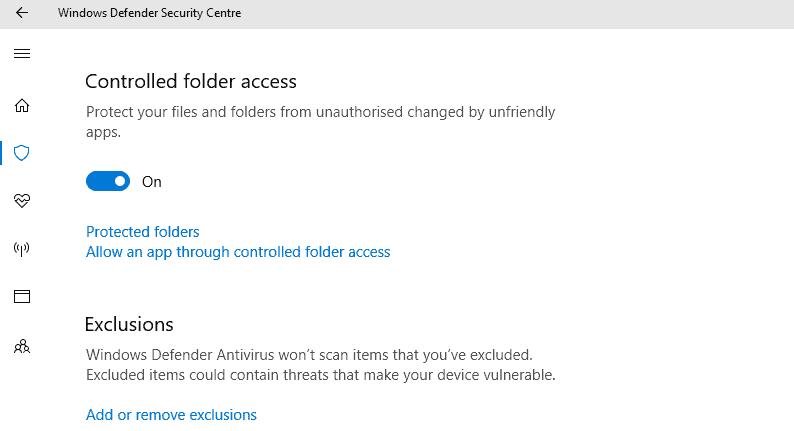 antivirus exclusions windows 10