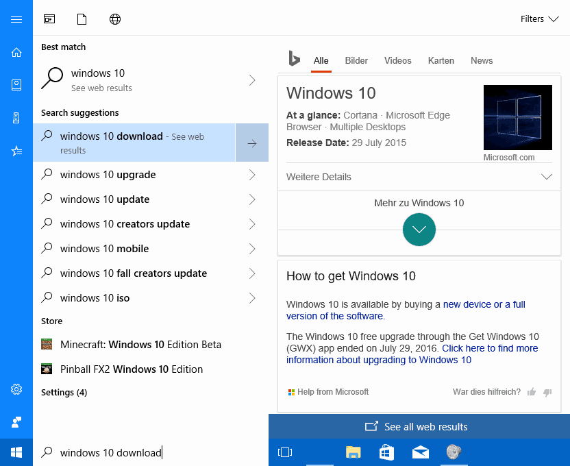 cortana web search results