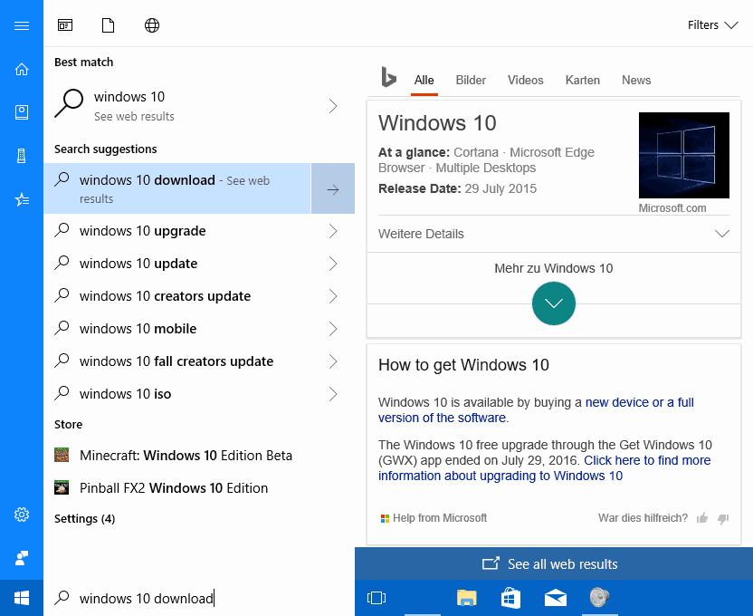 cortana web search results