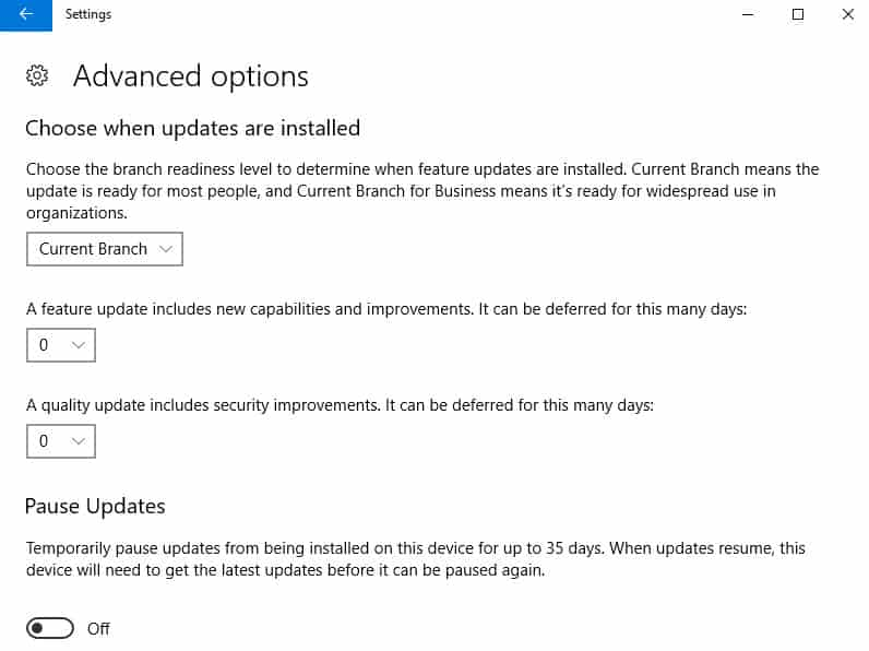 defer-updates-settings How to delay the Windows 10 Fall Creators Update