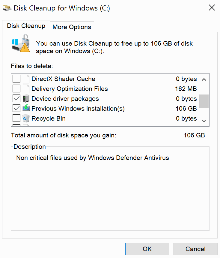 disk cleanup