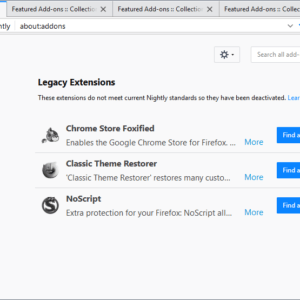 firefox legacy addons recommendations