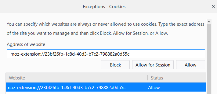 firefox whitelist cookies extensions