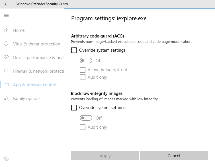 program settings exploit protection