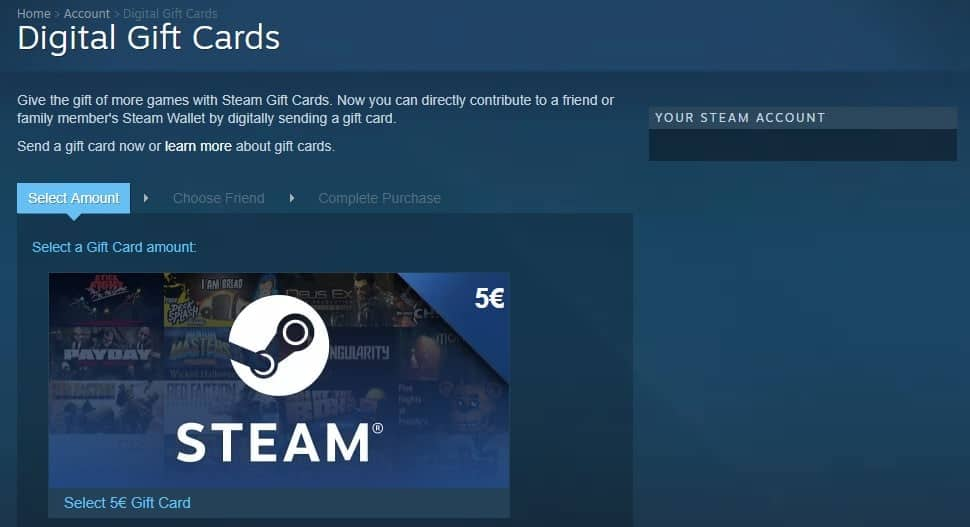 Steam card picture