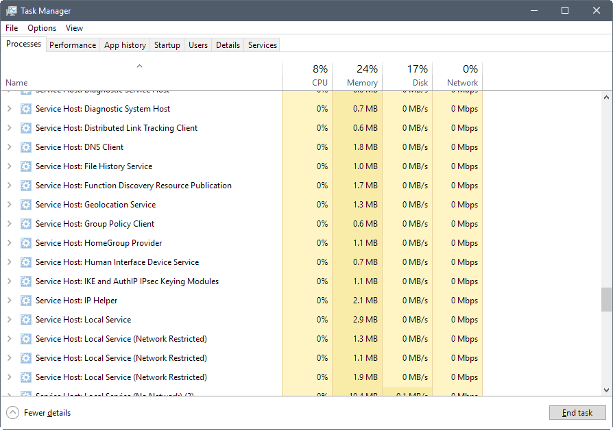 Analyze Service Host high CPU usage