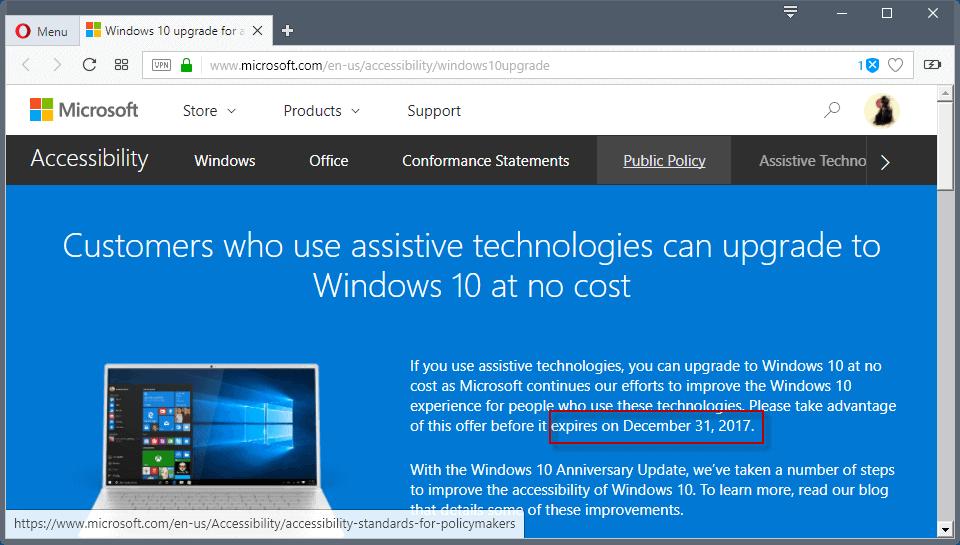 upgrade windows 10 offer expires