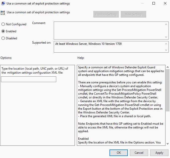 use common set exploit protection