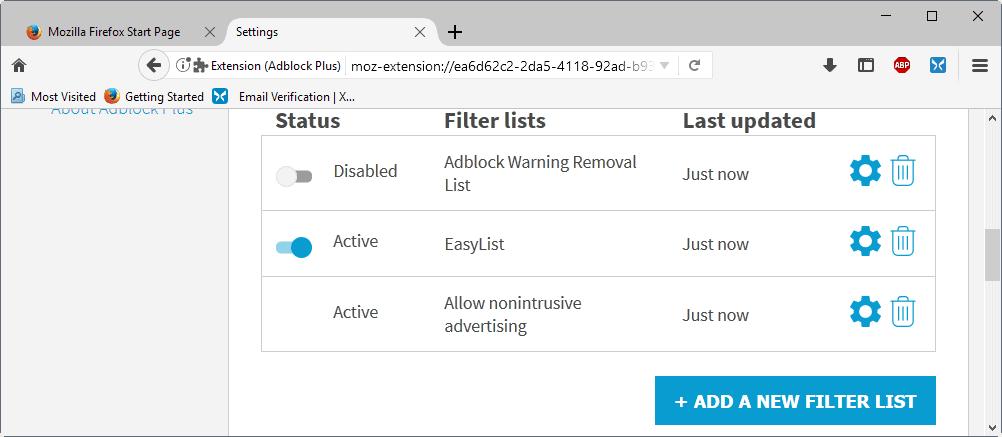 adblock plus filter lists